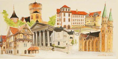 Stadtansichten 3 farbig, M. Hopf